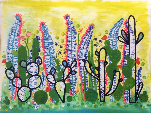 Cactus Garden 1 1000 mm x1200mm acrylic on canvas