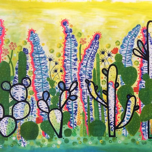 Cactus Garden 1 1000 mm x1200mm acrylic on canvas